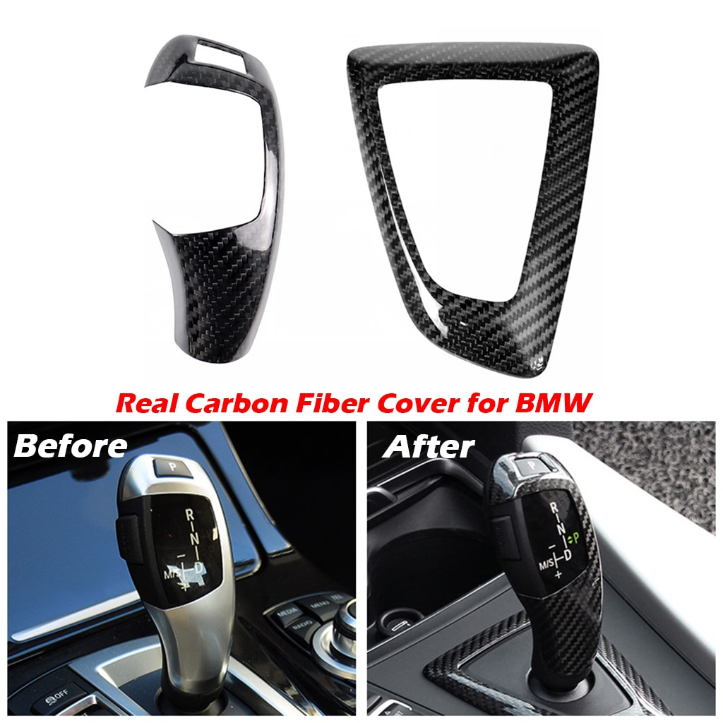 Carbon Fiber Gear Shift Knob and Panel Cover for BMW 1 2 3 4 Series F20 F21 F22 F23 F30 F34 F35 F36 F10 F11 F07 F18 F25 F26 F15