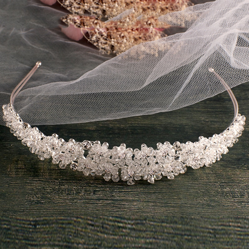 Diadema nupcial hecha a mano de color plateado, diadema nupcial de cristal, diademas vintage, accesorios para el cabello de boda, tocado nupcial, corona de Graduación