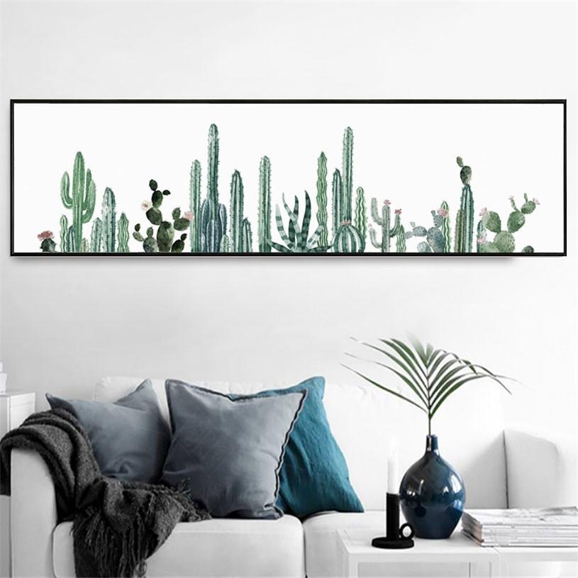 HD impreso pintura de lona nórdica verde plantas foto póster de Cactus largo moderno arte decorativo de la pared para sala