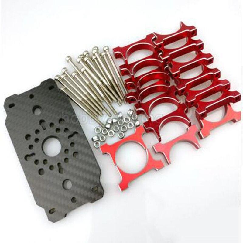 1 sets Q9L Q9XL TM U7 U8 U11 Carbon Fiber Motor Mount Plate Holder 25mm or 30mm Clamps Red and Black enlarge
