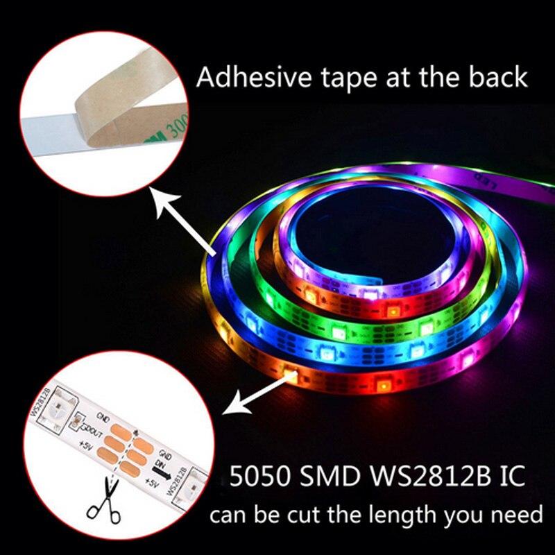 Полноцветная светодиодная Пиксельная лента WS2812B, 0,5-5 м, 30/60/144 светодиодов, s/M, со встроенным чипом 2812, цвета мечты, SMD5050, RGB, 5 в светодиодный све... браслет москвенок wochi p со встроенным чипом размер s желтый