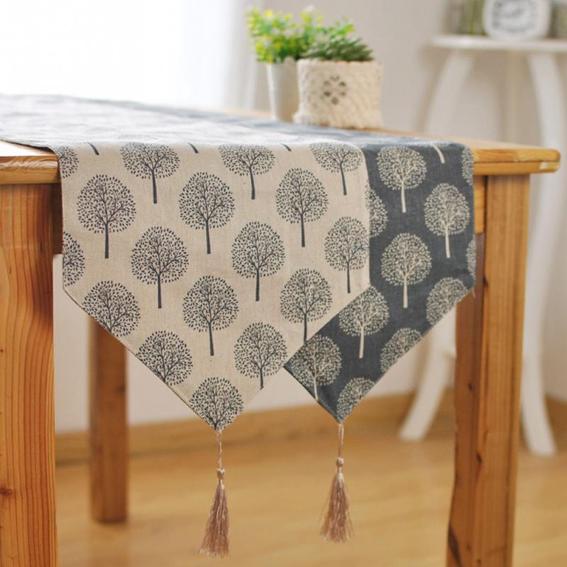 33cm * 160/180/200/220/240cm 5 tamaño camino de mesa patrón de árbol moderno Chirstmas fiesta boda manualidades decorativas camino de mesa de algodón de lino