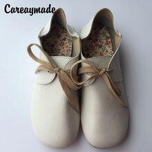Careaymade – chaussures plates dété en cuir pour femmes, chaussures faites à la main, art rétro, mori girl, 4 couleurs, livraison gratuite