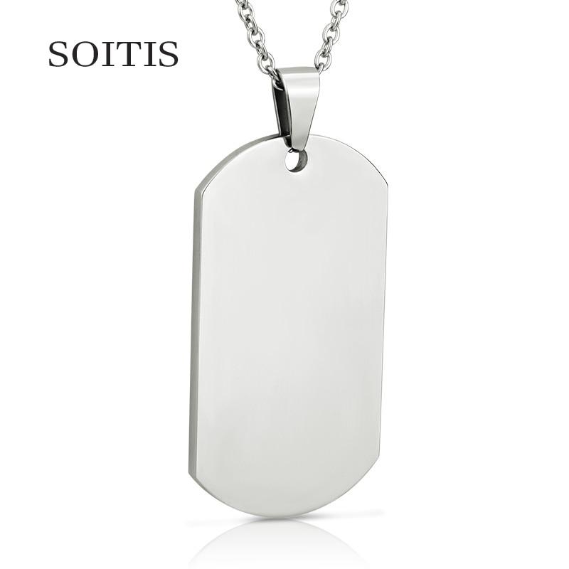 SOITIS militar estilo militar tono pulido etiquetas de perro de moda DIY Color plata cadena collar de los recuerdos dos de estilo
