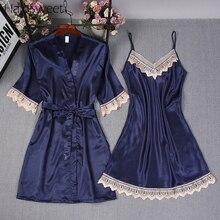 HaloSweet Slik vêtements de nuit femmes chemise de nuit été Pijama dame dentelle Robe Sexy Lingerie nuisette Robe dintérieur pyjama costume vêtements de maison