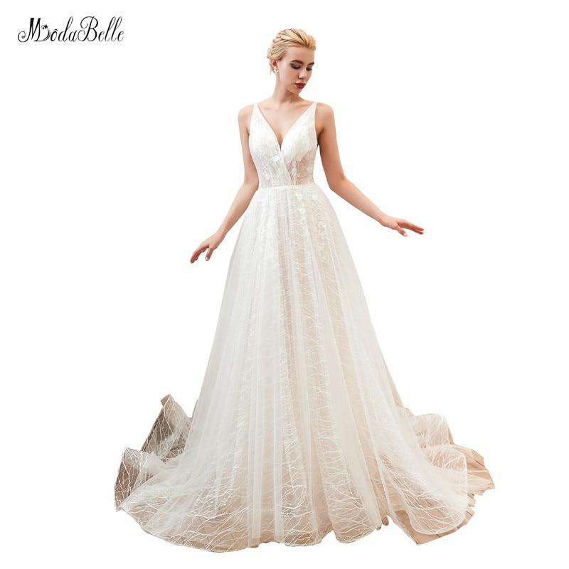 Modabelle vestido de novia con tul 2019 Robe Mariage mujer cuello en...