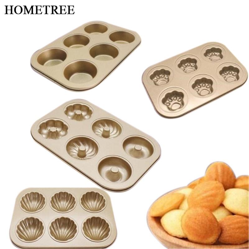 HOMETREE nuevo 6 tazas de acero al carbono donut molde antiadherente flor Muffin bandeja postres molde para hornear DIY repostería herramientas H446