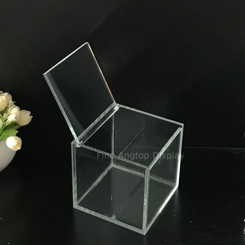Çok fonksiyonlu şeffaf akrilik küp kutusu takı ekran saklama kutusu kapaklı 9x9x9 cm