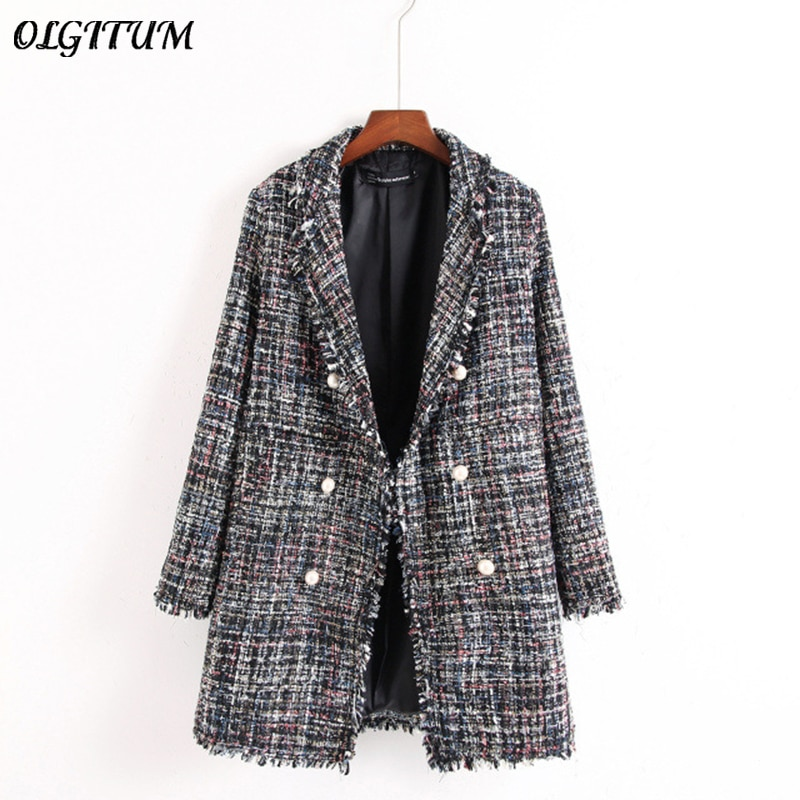 Estilo fresco primavera/outono feminino jaqueta casual casaco mão-borla solto casaco xadrez tweed casaco jaqueta lapela grossa