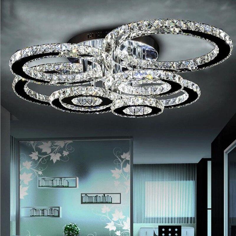 مصباح سقف led من الكريستال والفولاذ المقاوم للصدأ ، تصميم حديث ومبسط ، إضاءة داخلية زخرفية ، مثالي لغرفة المعيشة.