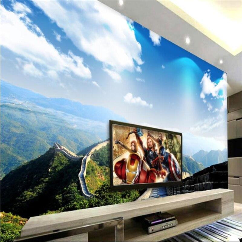 Papel de pared personalizado beibehang 3d cielo azul nubes blancas gran pared millas Fresco sofá Sala dormitorio TV telón de fondo