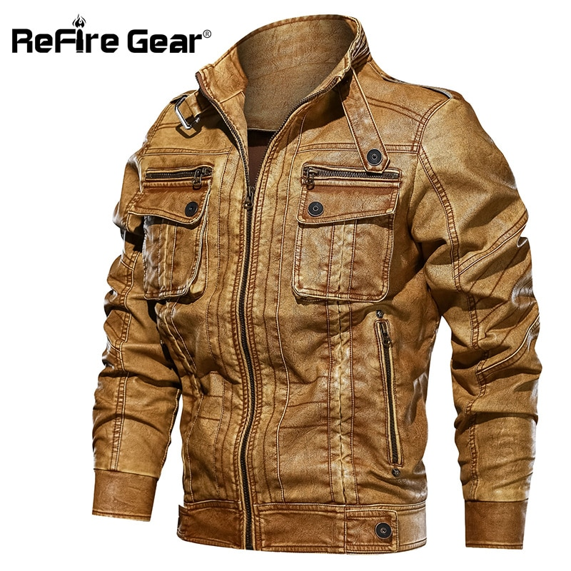 ReFire Gear الرجال سترة جلدية الخريف الطيار دراجة نارية Bomber جاكيتات رجل الربيع عادية بولي PU الجلود التكتيكية العسكرية معاطف