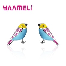 Hot Sell 925 Sterling Silver Korean Style Summer Small Lovely Colorful Bird Stud Earrings For Women