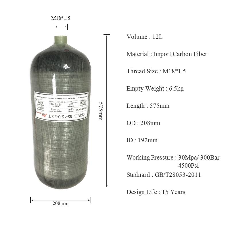 Cilindro AC3120 12L Hpa Pcp, Mini botella de aire para Rifle de buceo, pistola subacuática de aire, cilindro de fibra de carbono 300Bar Scuba Pcp Condor
