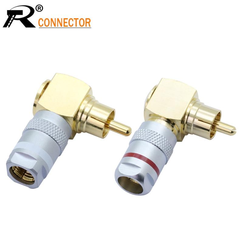 2pcs/1 זוג RCA זווית נכונה זכר תקע באיכות גבוהה נחושת/פליז 24K זהב מצופה רמקול RCA חוט מחבר