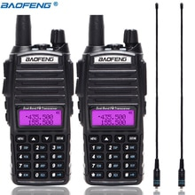 2 uds $TERM impacto Baofeng UV-82 5W portátil UV82 Walkie Talkie doble banda 2 PTT VHF UHF UV 82 jamón transmisor de radio amateur + NA-771 antena