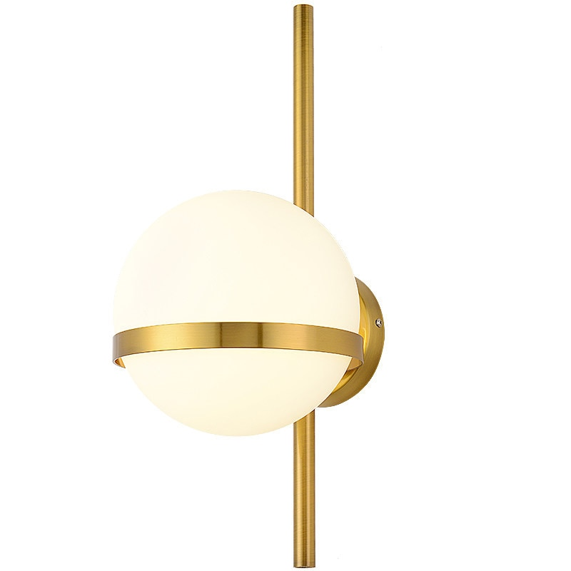 Lámparas de pared nórdicas de SETTEMBRE minimalismo Globo de Cristal E27 lámpara de pared Led corredor Scones de pared negro oro Metal iluminación