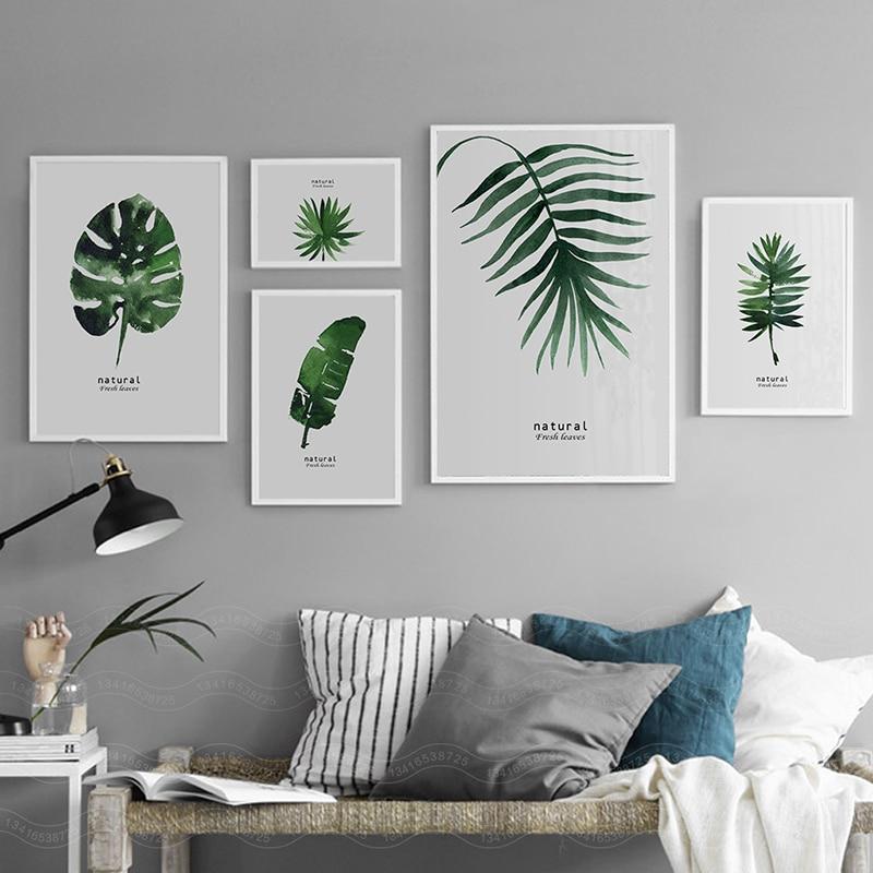 Aquarela Planta Folhas Verdes Pintura Da Lona Arte Da Parede Impressão Cartaz Minimalista Nordic Parede Pictures para Sala de estar Decoração