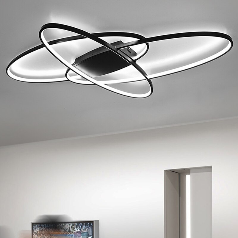 Hot Remote Controller Modern Led Chandelier For Living Room Bedroom White/Black Dimmable Ceiling Chandelier Fixtures  - buy with discount