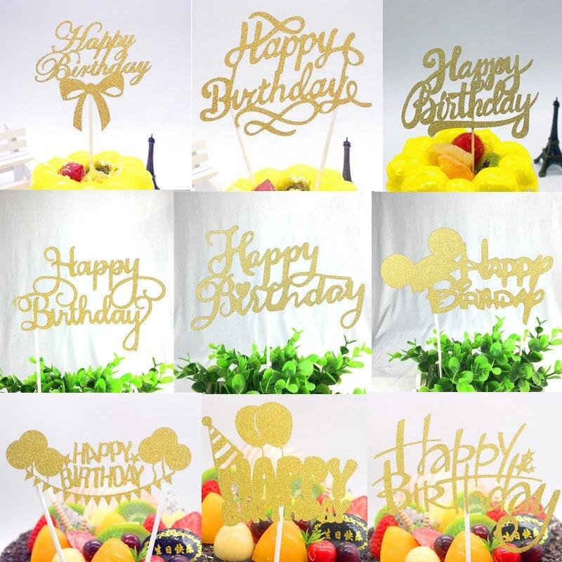 Lancheiras multicoloridas de cupcake, brilho, feliz aniversário, bolo, topper, bandeiras, decoração, cartão de bandeira, assar, diy, 1 peça acessório
