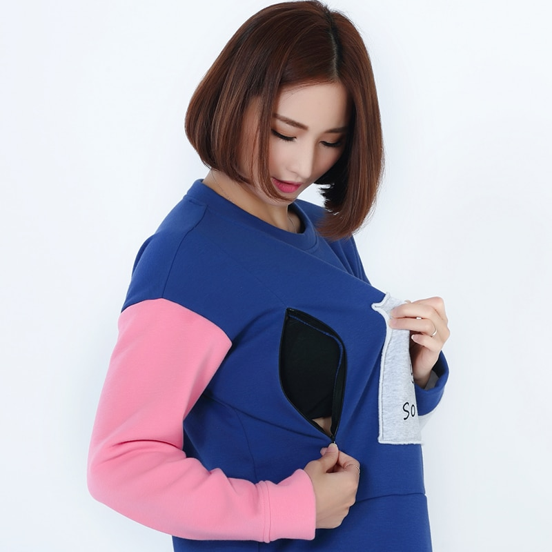 Emotion Moms winter Maternity Clothes Long sleeve Lactation Top Breastfeeding tops for Pregnant Women maternity T-shirt enlarge
