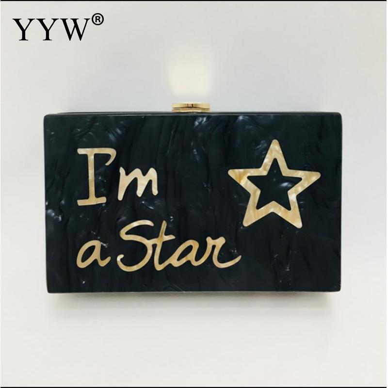 Star Bag Acrylic Clutch Bag Fashion Letter Wallet Small Wedding Handbag Black Marble Eveningbag Woman Party Prom Casual Clutch