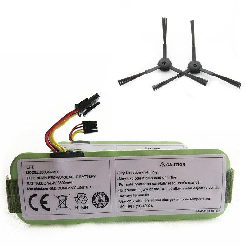Bateria para ecovacs 14.4 v 3500mah + um par escova lateral para ecovacs cr120 dibea panda x500 x580 kk8 haier varrendo bateria