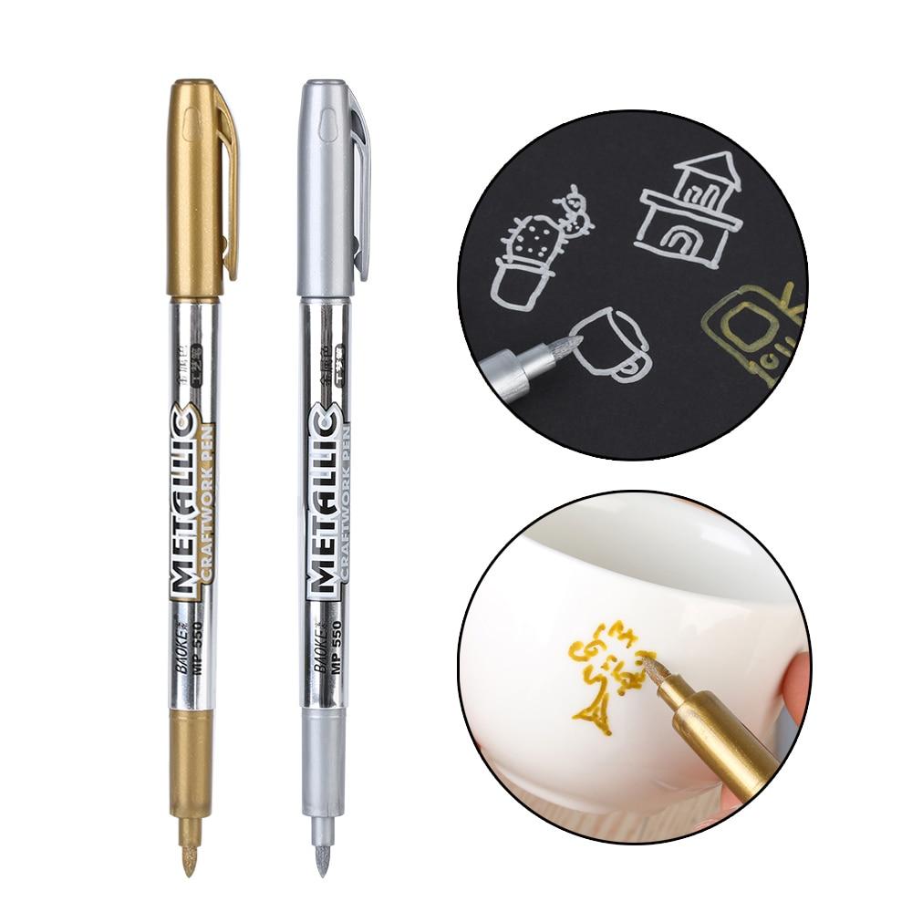 2 pçs/set student office & school metal cor tinta marcador caneta 1.5mm recarga desenho escrita artigos de papelaria suprimentos presente
