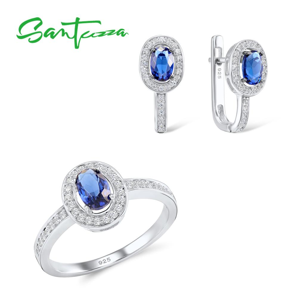 SANTUZZA Jewelry Set for Women Chic Bridal Oval Blue CZ Stones Jewelry Set Earrings Ring 925 Sterling Silver Fashion Jewelry Set