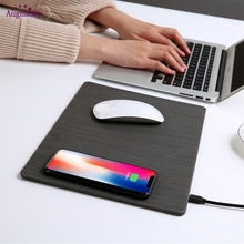 2018 Mobiele Telefoon Qi Draadloze Oplader Opladen Muismat Mat Pu Lederen Mousepad Voor Iphone X/8 Plus Samsung s8 Plus/Note 8