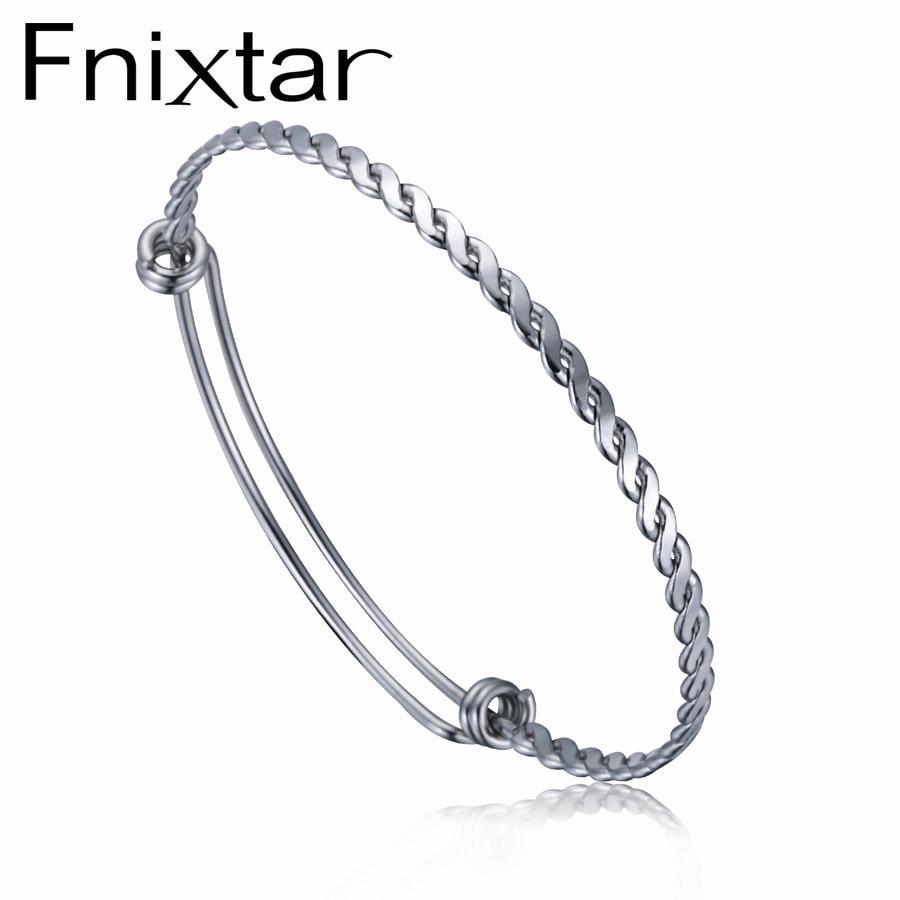 Fnixtar 3,2mm 4mm Twist Draht Armreif Armband Benutzerdefinierte Charme Armband Edelstahl Einstellbare Twisted Armreifen 50 teile/los