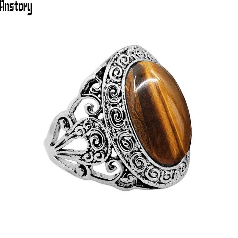 Овальные кольца с тигром для женщин, кольцо с цветком из натурального камня, античное серебряное покрытие, модные ювелирные изделия TR747