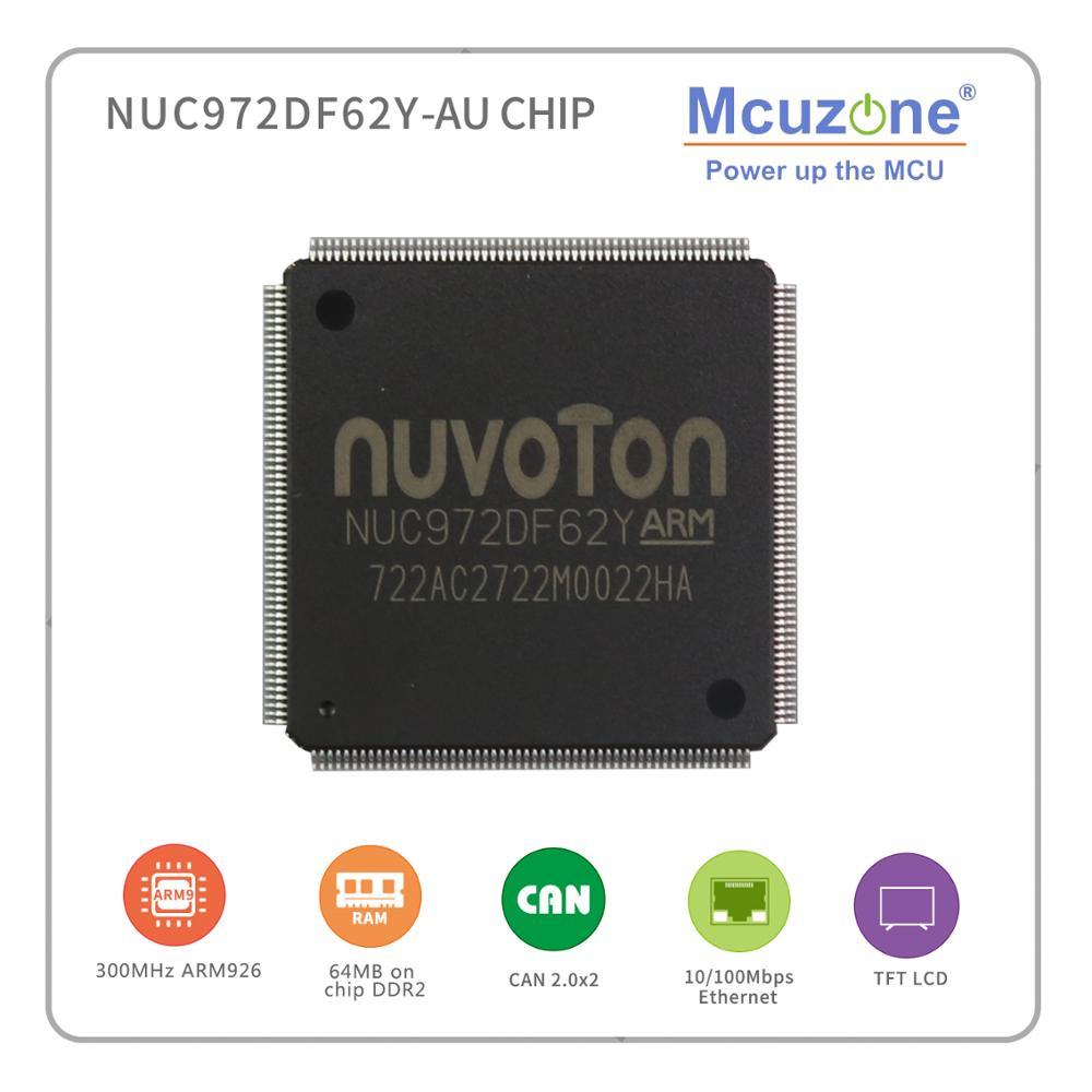 NUC972DF62Y, NUVOTON ARM926 núcleo basado Soc, con chip 64MB DDR2, 2 * CAN, UART 8 *, USB, LCDC, interfaz CMOS, códec