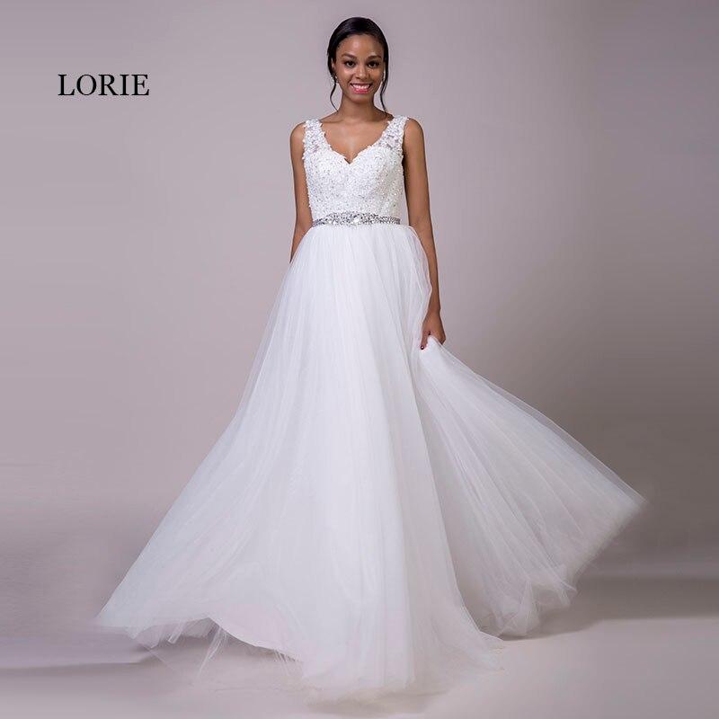 Кружевное свадебное платье LORIE размера плюс, белое Тюлевое Платье на шнуровке с бисером и поясом, ТРАПЕЦИЕВИДНОЕ свадебное платье с v-образным вырезом, бесплатная доставка