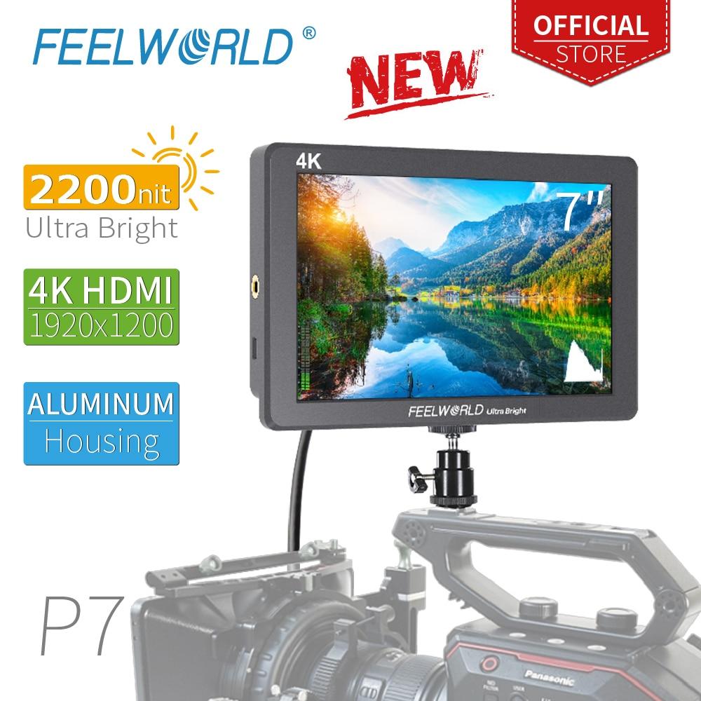 FEELWORLD-شاشة الكاميرا الميدانية P7 7 7 بوصة ، فائقة السطوع 2200nit ، DSLR ، غلاف من الألومنيوم ، HDMI 4K ، مساعد تركيز الفيديو ، مع إخراج DC