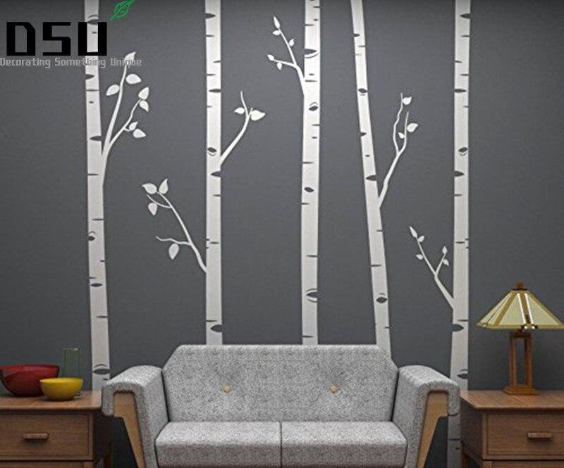 5 árboles de abedul de 244cm de alto con ramas tamaño enorme pegatinas de pared para habitación de niños pegatinas de pared para habitación de bebé Color personalizado 641 papel tapiz
