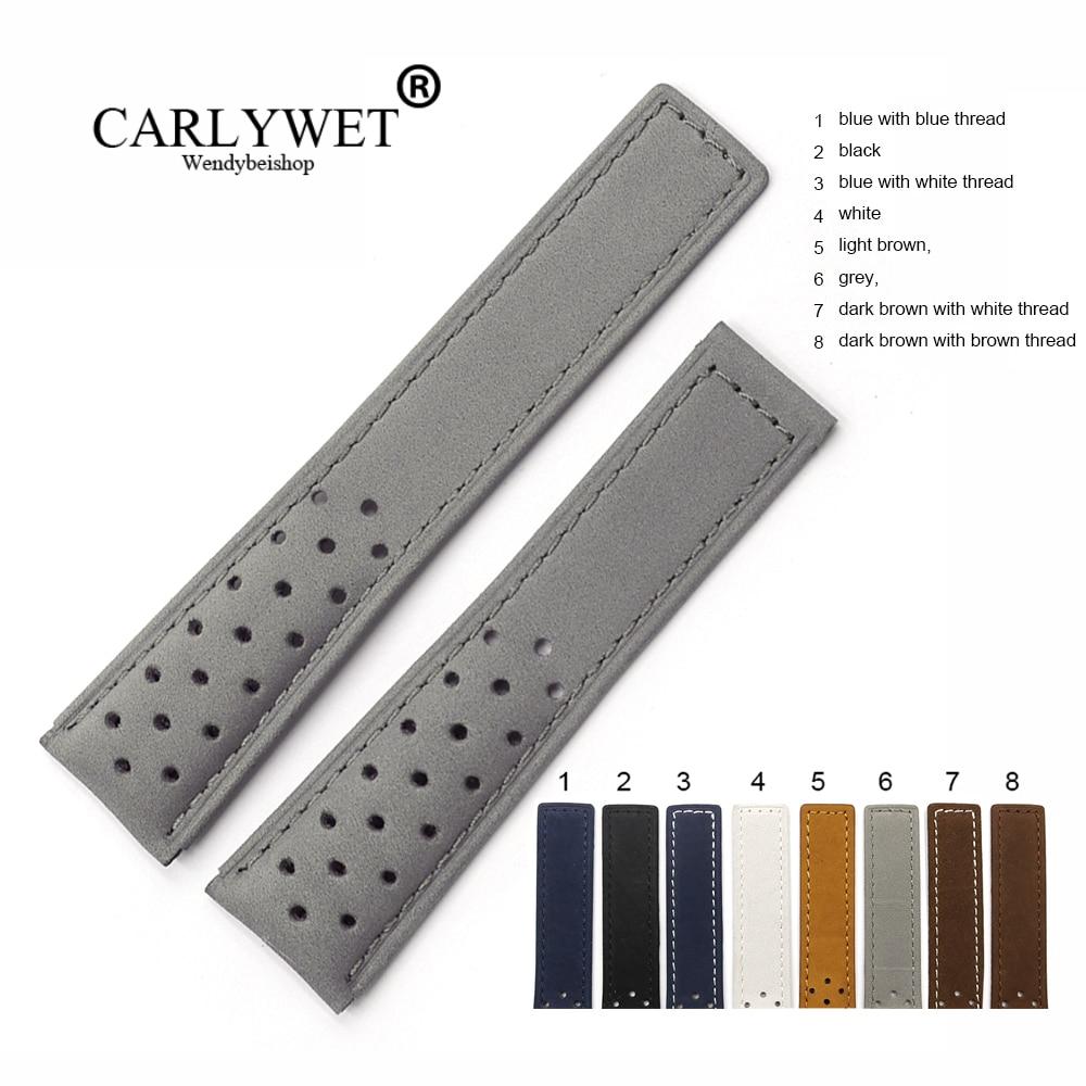 Ремешок для часов CARLYWET 20 22 мм из натуральной кожи, серый замшевый винтажный сменный ремешок для наручных часов
