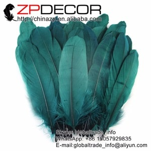 ZPDECOR Feather 100pcs Hand Select Beautiful Peacock Green Goose Nagoire Wholesale Feathers for Wedding Decoration and Feathers