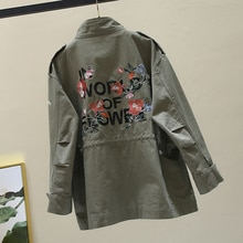 Spring Autumn Women Jacket Coat Large size Embroidery Long sleeve Casual Long Windbreaker Female Harajuku Loose Khaki Outerwear