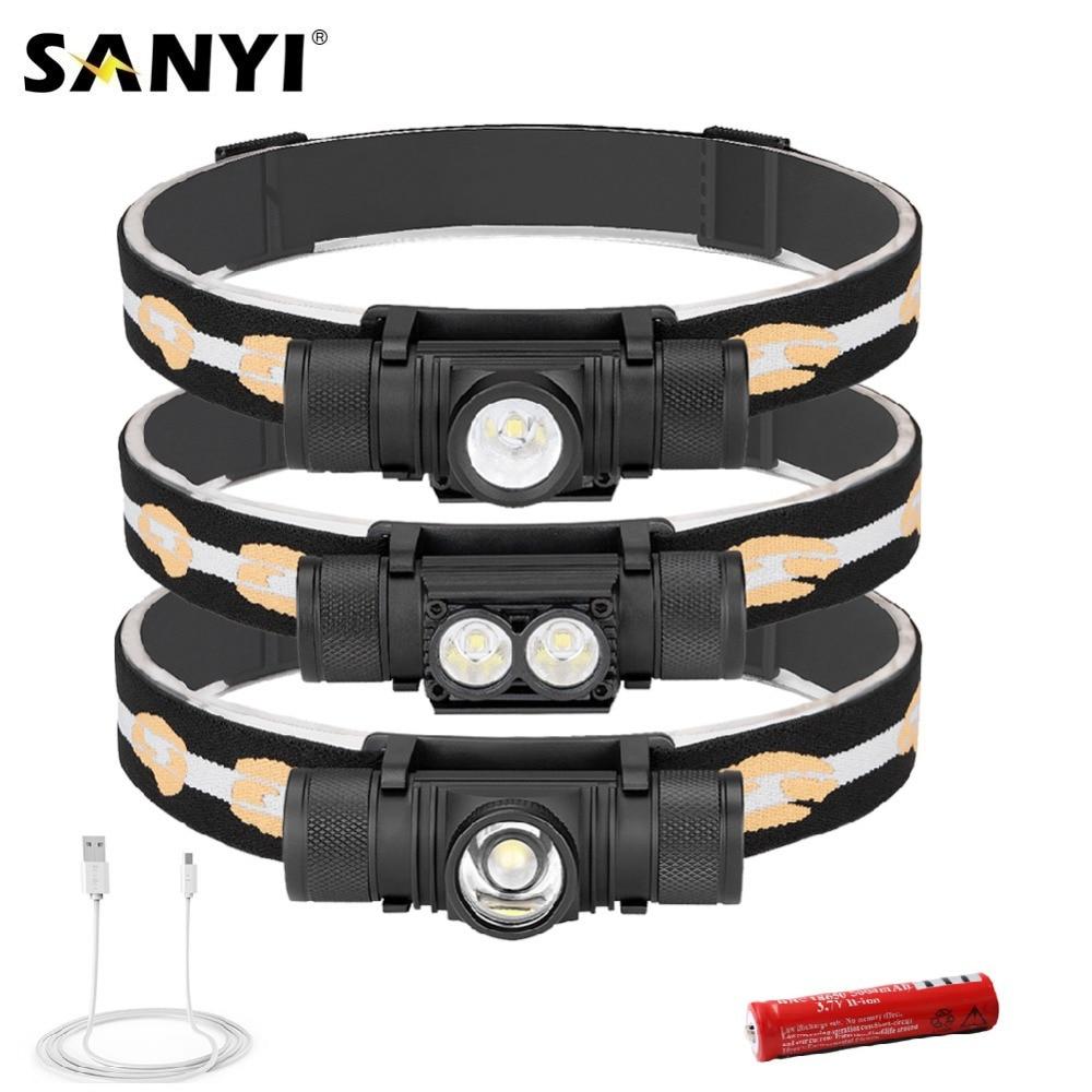 Sanyi d25 XM-L2 led mini farol 6-mode carregamento usb 18650 lanterna de acampamento caça cabeça frontal lanterna tocha lâmpada