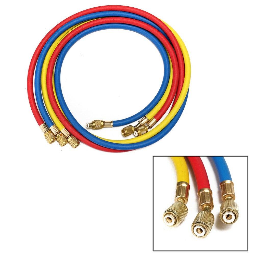 1Pcs Hoge Kwaliteit Optionele Kleur Refrigeration Vulslangen 1.5M Airconditioning R134a Hvac 5FT Rode Kleur Geel