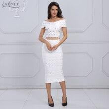 Adyce 2019 nouveauté hiver Bandage robe ensemble Chic femmes élégant blanc hors de lépaule 2 deux pièces ensemble robe de soirée