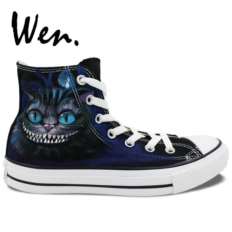 Wen hombres mujeres diseño de zapatos pintados a mano personalizado Cheshire Cat High Top zapatillas de lona Graffiti pintura Plimsolls