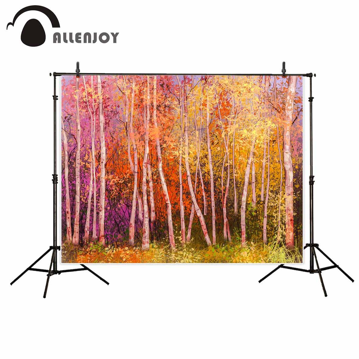 Fondo de fotografía Allenjoy otoño bosque con árboles pintura al óleo colorido telón de fondo photocall decoración retrato