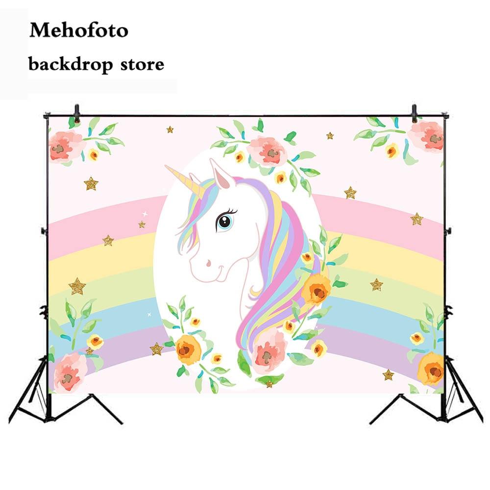 Mehofoto Unicorn Photography backdrops Newborn Baby Shower Photo Background for Booth Studio Rainbow Vinyl Cloth 860