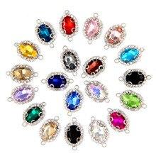 Freies verschiffen 10x14mm 10 teile/beutel ovale form kristallglas Kristall schnalle nähen auf stein mit zwei löchern diy kleidung zubehör
