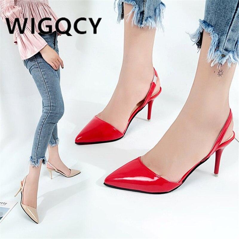 2019 verão mulher sapatos de salto alto senhoras sexy apontou toe bombas fivela saltos vestido casamento sapatos finos zapatos mujer f026