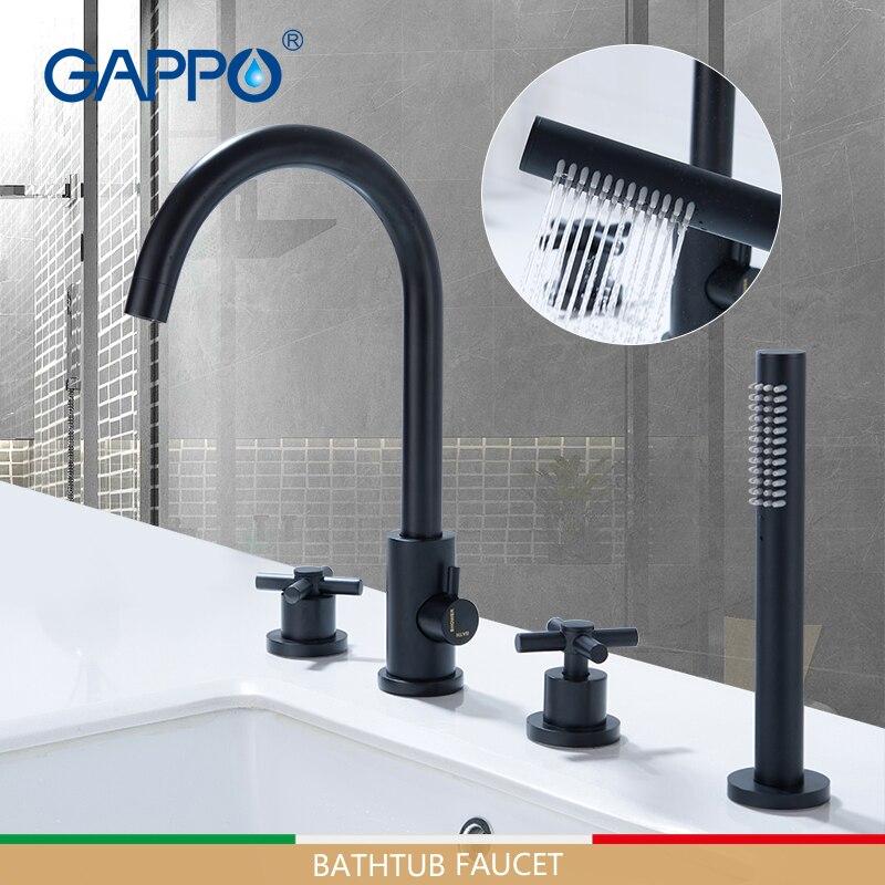 GAPPO-حنفيات حوض الاستحمام ، خلاط حمام أسود ، نظام دش متتالي ، صنبور حوض استحمام