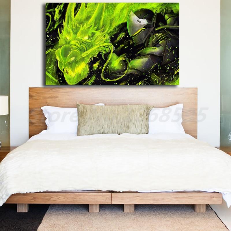 Genji Overwatchs HD fondos pared arte lienzo póster e impresión lienzo pintura cuadro decorativo para sala de estar decoración del hogar