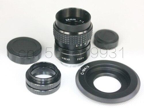 25mm f/1.4 CCTV Lente anel para m43 ep2 gf1 gh1 EPL5 EPM1 OM-D EM5 EM10 EPL1 EPL2 EPL3 + C para montar Micro 4/3 C-m4/3 + Anel Macro
